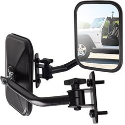 OxGord Side Mirror for Jeep Wrangler  Quick Release with Adj
