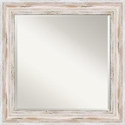 Wall Mirror Square, Alexandria White Wash Wood: Outer Size 2