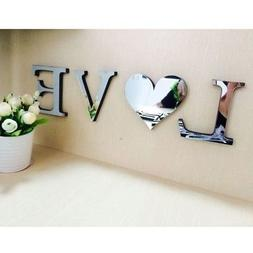 Acrylic Decals 3D Mirror Wall Sticker Letters DIY Art Mural