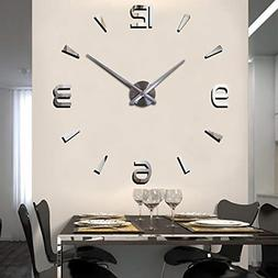 Acrylic Mirror Surface 3D DIY Wall Clock Luxury Big Size Wal