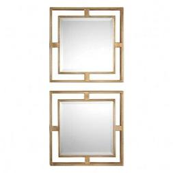Uttermost Allick Square Wall Mirrors - Set of 2, Gold, 1
