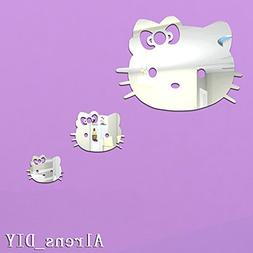 Alrens_DIY 3pcs Cute Cats Crystal DIY Mirror Effect Reflecti