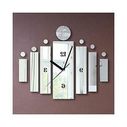 Alrens_DIY Silver Wall Clock Modern Acrylic Non-Ticking Quie