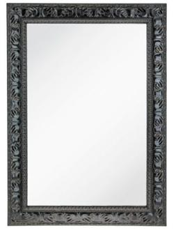 Antique Black Textured Rectangle Wall Mirror Extra Large Dec