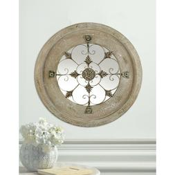 """ANTIQUE COUNTRY WALL MIRROR Whitewashed Wood Round 23"""" with"""