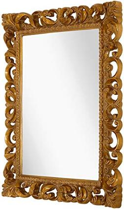 Hamilton Hills Antique Gold Ornate Baroque Frame Mirror | El