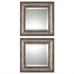 Uttermost 'Norlina' Antiqued Square Wall Mirrors - Brown
