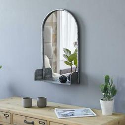 Arched Wall Mirror With Shelf Metal Frame for Living Room Be