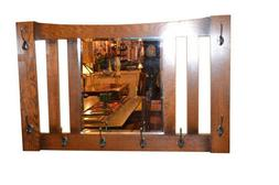 Arts and Crafts Mission Oak Beveled Mirror with Hooks for Ha