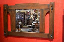 Arts and Crafts Mission Oak Bevelled Mirror with Hooks for H