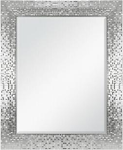 Bath Wall Mirror Vanity Bathroom Shiny Silver Decor Beveled