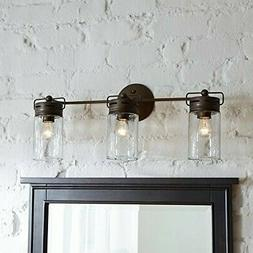 Bathroom Vanity 3 Light Fixture Aged Bronze Mason Jar Wall L