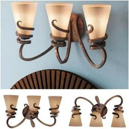 Bathroom Vanity Light Fixture Bronze Up or Down 3 Globe Over