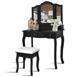 Giantex Bathroom Vanity Set Tri-Folding Mirror W/Bench 4 Dra