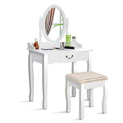 Giantex Vanity Set Makeup Dressing Table with Mirror Cushion
