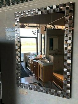 Bathroom Vanity Wall Mirror Steel Mosaic Rectangle Frameless