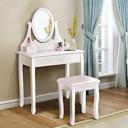 Giantex Vanity Table Set with Stool and Mirror for Bedroom D