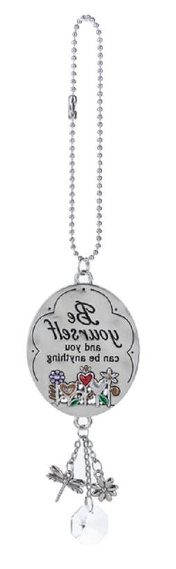 BE YOURSELF, Flowers Ganz Car Charm w/ Dangle Charms & Chain