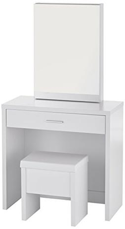 Bedroom Vanity Set With Mirror Table Stool Modern White Dres