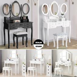 Wood Vanity Makeup Desk Dressing Table Set w/ Stool Drawer&M