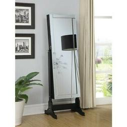Black Finish Jewelry Cheval Mirror With Interior Storage By