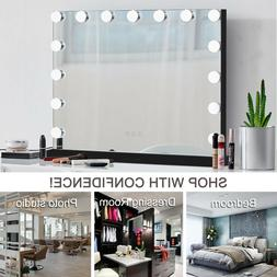Black Hollywood Makeup Vanity Mirror with Light Stage Large