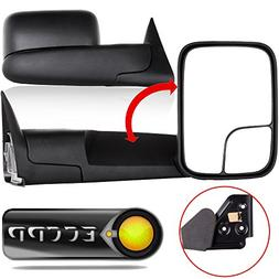 ECCPP Black Manual adjusted Side View Mirror Tow Towing Mirr