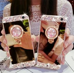 Bling Crystal Glitter Diamond Mirror Back Case Protective Co