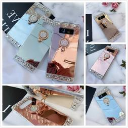 Bling Glitter Cute Crystal Diamond Mirror Back Case Covers F