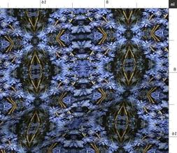 Blue Black Mirrored Flowers Fabric Printed by Spoonflower BT