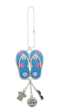 Blue FLIP FLOPS Ganz Car Charm with Dangle Charm & Chain for