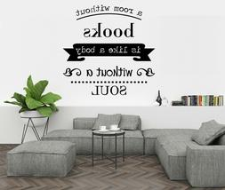 Books Soul Quote Wall Decor - Wall Decal Vinyl Sticker for H