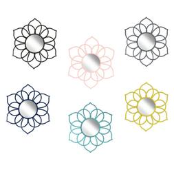 Brienne Metal Flower Round Wall Accent Mirror by Kate and La