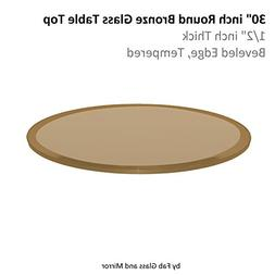 Fab Glass and Mirror Round Glass Table Top, 30, Bronze
