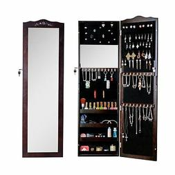 Wall/Door Mounted Mirror Jewelry Armoire Cabinet with Holder
