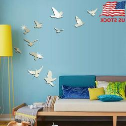 Cartoon 3D Mirror Wall Sticker Bird Wall Decals Removable Ba