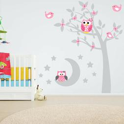 Cartoon Owl Tree Moon Stars Vinyl Wall Sticker Decal Nursery