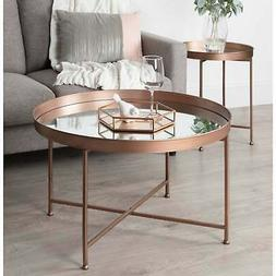 Kate and Laurel Celia Metal/Glass Round Mirrored Coffee