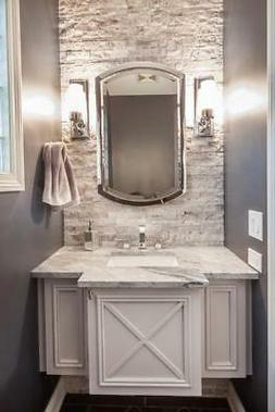 "Chrome Bathroom Arched Metal Wall Mirror Large 37"" Vanity"