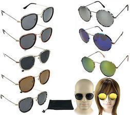 Classic Casual Round Sunglasses Thin Metal Frame Ray Grey Bl