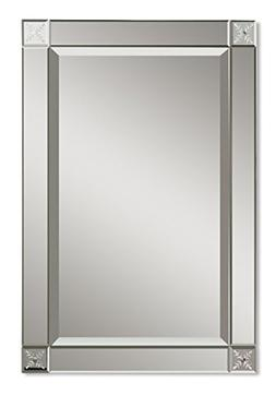 Classic Glass Frame Wall Mirror | Etched Contemporary Vanity
