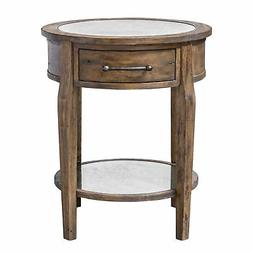 Classic Round Light Wood Accent Table | Drawer Mirrored Tran