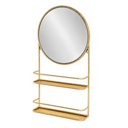 Kate and Laurel Coffey Wall Mounted Metal Mirror With Two Sh