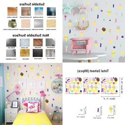 Colorful Ice Cream Wall Decal Paint Brush Stroke Dots Sticke