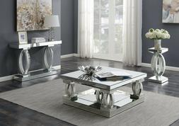 Contemporary Occasional Set Mirrored Coffee Cocktail Console