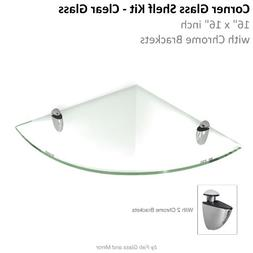 Fab Glass and Mirror 16 X 16 Inch Corner Floating Glass Shel