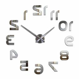Creative Large Modern 3d Mirror Stickers Wall Clocks For Hom
