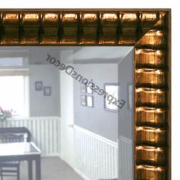 Custom Ribbed Bronze Beveled Wall Mirror, Mantle & Bathroom