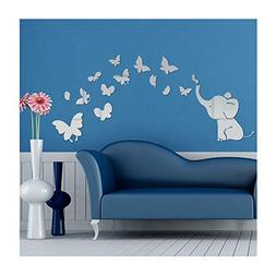 Alrens Cute Elephant Butterflies Acrylic Mirror Surface DIY