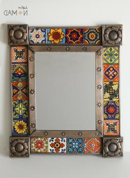 dark bronze talavera tiles mirror assorted colors